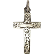 Victorian Sterling Silver Engraved Cross Pendant - Charles Edward Solomon