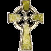 Irish Connemara Marble Celtic Cross and Silver Pin