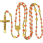 French Circa 1900 Coral and Gold Filled Rosary