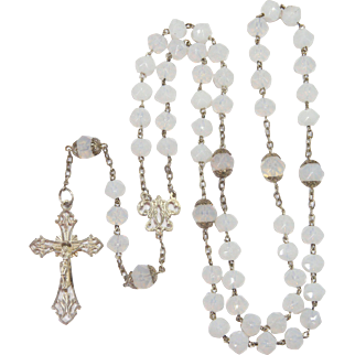 French Art Nouveau Silver Iridescent  Glass Bead Rosary