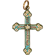 Italian 19C Micro-Mosaic Daisy Cross on Silver Gilt