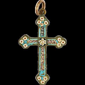 Italian 19C Micro-Mosaic Daisy Cross on Silver Gilt