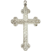 Victorian Sterling Silver and Engraved Cross Pendant - 2 and 3/16 inches