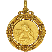 French Art Deco Gold Filled Cherub Medal or Charm - ORIA