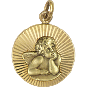 French Art Deco Gold Filled Cherub Medal or Charm - MURAT
