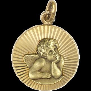 French Art Deco Gold Filled Cherub Medal or Charm - MURAT