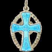 Italian Silver Plated Enamel Catholic Medal
