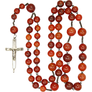 Victorian French Silver and Carnelian Agate Rosary with Reliquary Crucifix