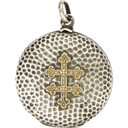 French Antique Hammered Silver Locket with Gold Cross of Lorraine