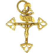 French 19C Gold Filled Crucifix