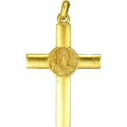French Joan of Arc Gold Filled Cross Pendant  or Charm