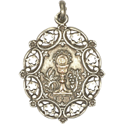 French 19C Silver and Gold Overlay Communion Medal - 7.3 grams