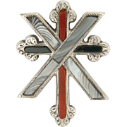 Victorian Scottish Agate Sterling Silver Two Crosses Pin