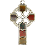 Victorian Scottish Agate on Sterling Silver Engraved Cross Pendant
