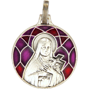 French St Thérèse of Lisieux Silver Plated with Enamel Medal or Charm