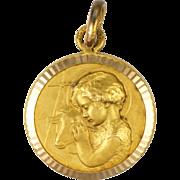 French St John the Baptist Child Gold Plated Medal - Monier at Murat