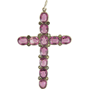 European 800 Silver and Amethyst Paste Cross Pendant