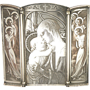 French Circa 1900 Tryptich Silver over Copper Virgin Mary and Angels - R Wicker