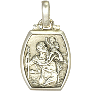 French Art Deco Silver St. Christopher Pendant or Charm