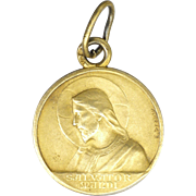 French Gold Washed Silver Jesus 'Salvator Mundi' Medal - E DROPSY