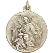 French 19C Silver Guardian Angel and St. Joseph and Child Jesus Medal