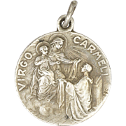 French 19C Silver Virgin of Carmel and Jesus Double Sided Medal