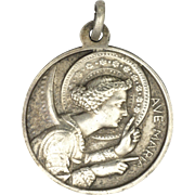 French Angel of the Annunciation and St Louis Montfort Silver Metal Medal
