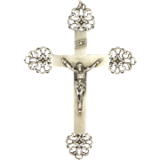 French Silver Crucifix - 2 and 7/8 inches long