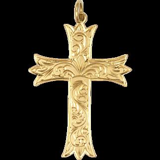 English 9K Gold Foliate Engraved Cross Pendant