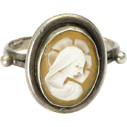 European Silver and  Virgin Mary Cameo Ring