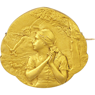 French 1900-1910  Joan of Arc Double Sided Gold Filled 'FIX' Pin - L O Mottei