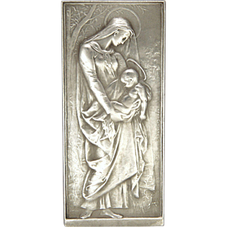 French Antique Silver Virgin and Child Medal or Plaque - DANIEL DUPUIS