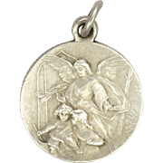 French Victorian Silver Guardian Angel, Children and Joseph Medal - J Doisy
