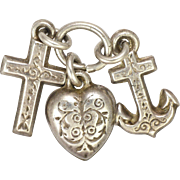 European Victorian 800-900 Silver Faith Hope and Charity Charms