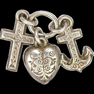 European Victorian 800-900 Silver Faith Hope and Charity Charms