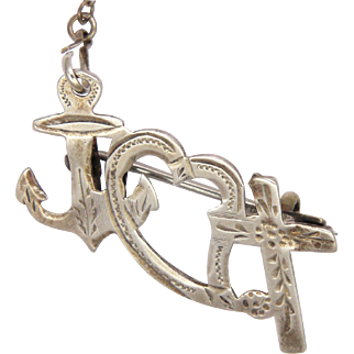 English 1901 Sterling Silver Faith Hope and Charity  Pin