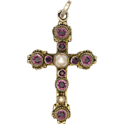 Austro-Hungarian Silver Pearls and Garnet Pastes Cross Pendant