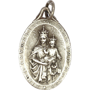French Art Deco Silver Plated Double Sided Virgin and Child Jesus Medal