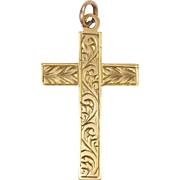 English Circa 1900 9 Carat Gold Engraved Cross Pendant