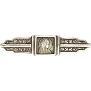 French Circa 1910-1920 Silver Virgin Mary and Roses Pin