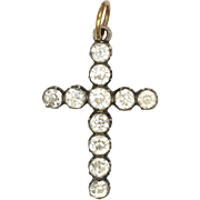 French 19C Silver and Paste Cross Pendant with 18K Bail