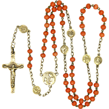 Antique Coral and Silver Gilt Medallions Rosary