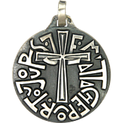 French Modernist Silver Cross and Message Pendant