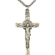 French Heavy Silver Crucifix and Chain