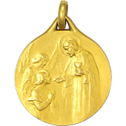 French Gold Filled 'FIX' Jesus and Angels Communion Medal - BECKER