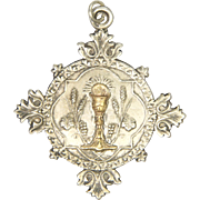 French Silver and Gold Challice Communion Medal