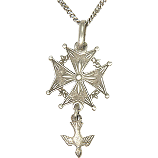 French Circa 1900 -1910 Silver Huguenot  Cross with Newer Chain