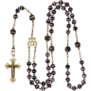 French 19C Purple and White Glass Bead Rosary with Brass Crucifix
