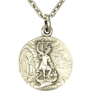 French Circa 1900 St Michael Silver Medal Pendant and Chain