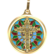 French 18K Gold Cross Plique à Jour Enamel Pendant